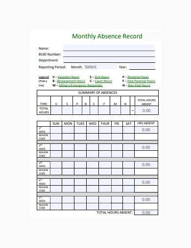 employee monthly absence record sample