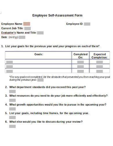 employee self assessment form sample