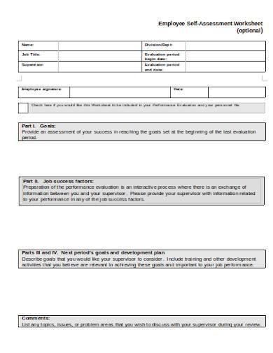 employee self assessment worksheet