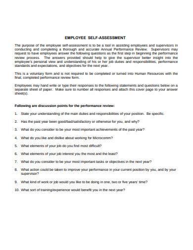 employee self assessment
