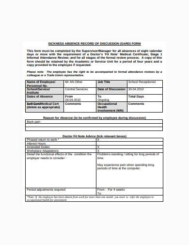 employee sickness absence record template