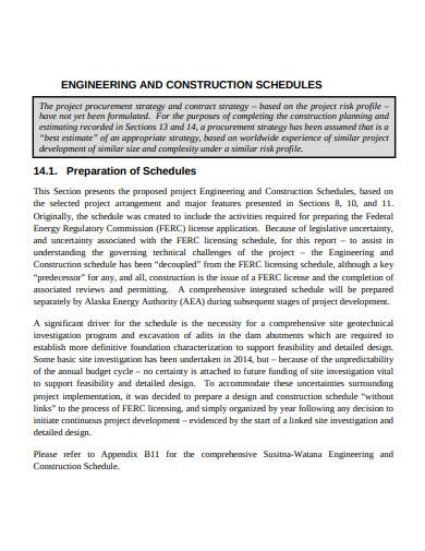 engineering and construction schedules