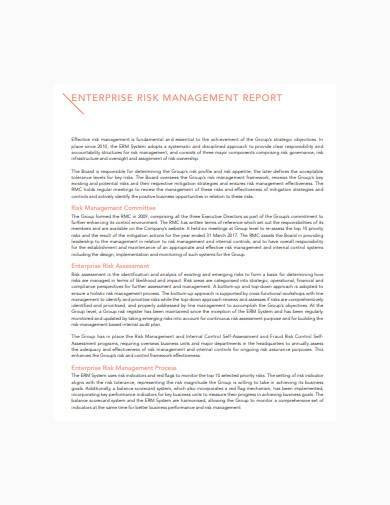 enterprise risk management report template