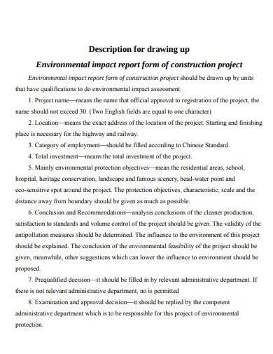 environmental impact report form of construction project