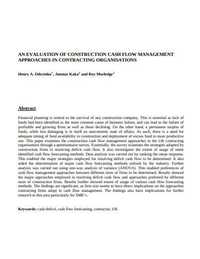 evaluation of construction cash flow management