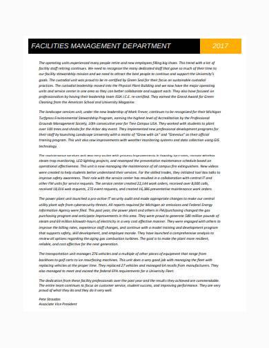 facilities management annual report sample