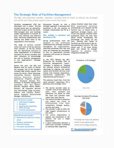 facilities management report example