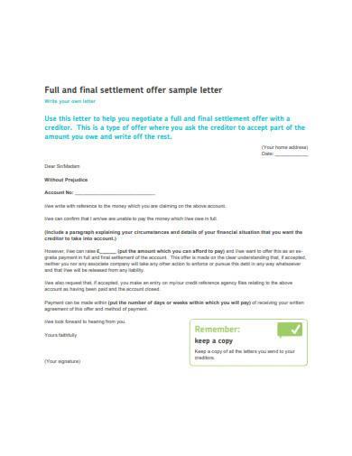 final settlement offer sample letter