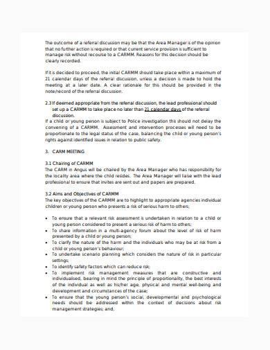 formal child care risk management plan template