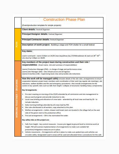 formal construction phase plan template