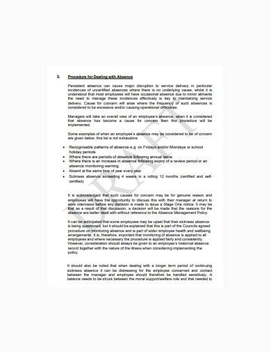 formal employee absence record sample