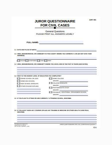 formal juror questionnaire template