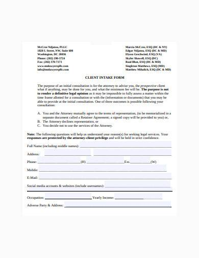 formal legal client intake form