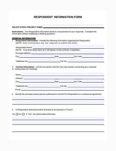 formal respondent information form sample