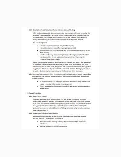general employee absence record sample