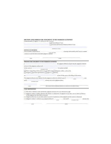 general motion for judgement sample