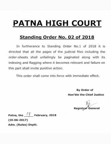 high court standing order sample