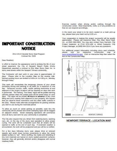 important construction notice