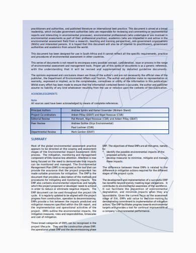 integrated environmental management plan sample
