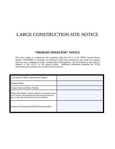 large construction site notice