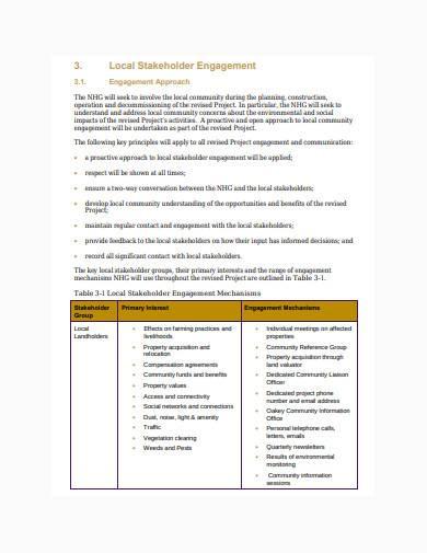 local stakeholder management plan sample