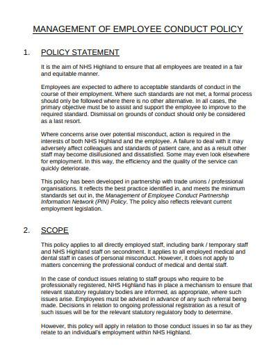 management of employee conduct policy