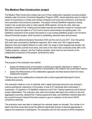 medium rise construction project evaluation report