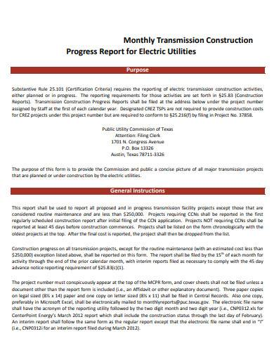 monthly transmission construction progress report for electric utilities