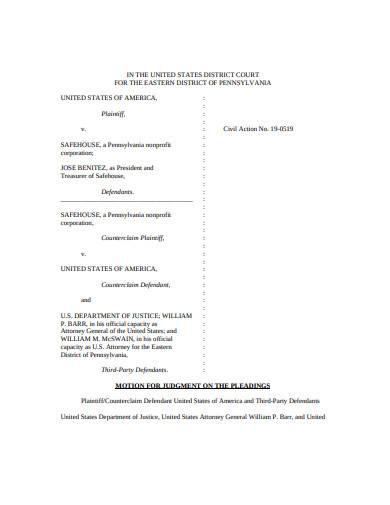 motion for judgement sample