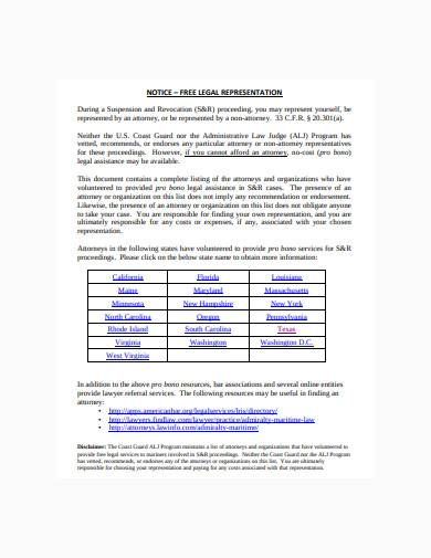 notice of free legal representation template
