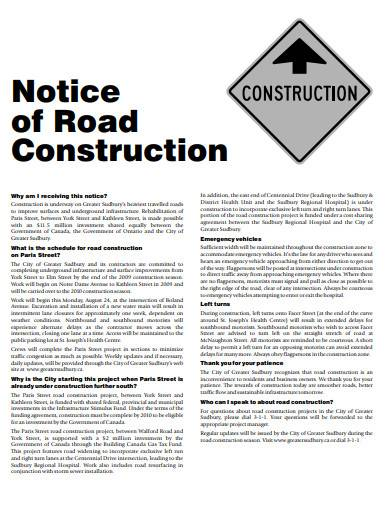 notice of road construction