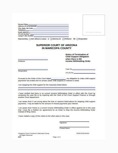 notice of termination of child support