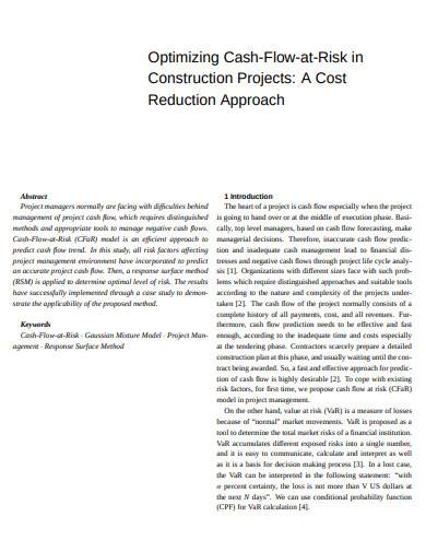 optimizing cash flow at risk in construction projects