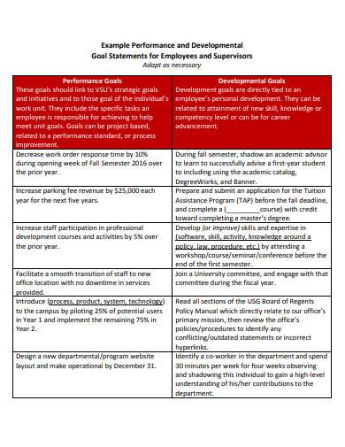 performance and developmental goal statements for employees