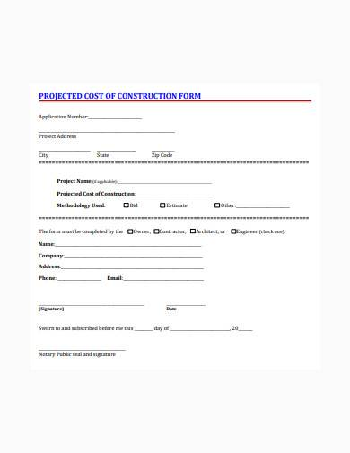 projected cost construction form sample