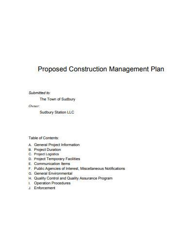 proposed construction management plan