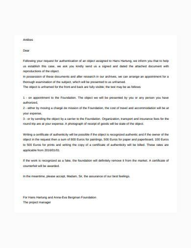 request for authentication letter