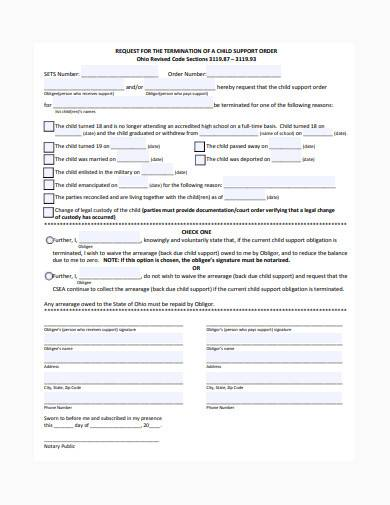 request for termination of child support order