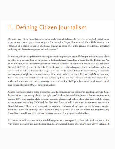 sample citizen journalism template