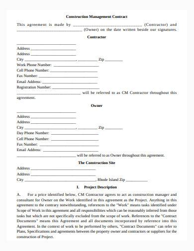 sample construction management contract template