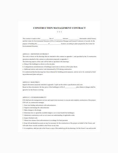 sample construction management contract in pdf