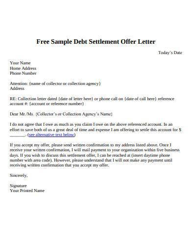 sample debt settlement offer letter