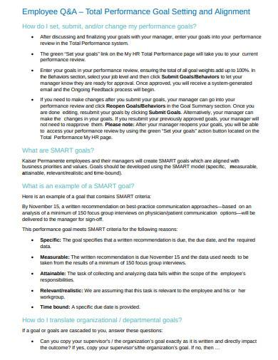 sample employee performance goal setting and alignment