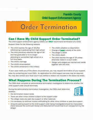 simple child support termination sample