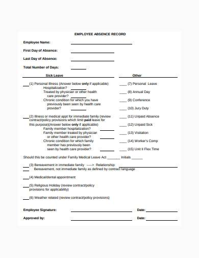 simple employee absence record template