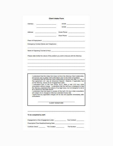 simple legal client intake form template