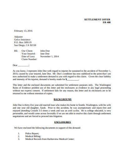 simple settlement offer letter template