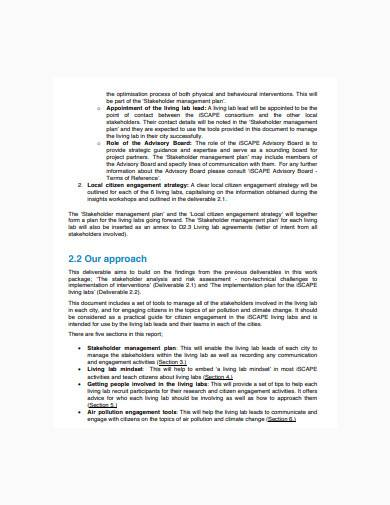 stakeholder management plan sample