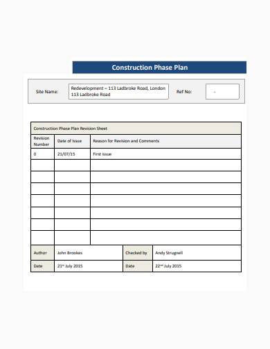 standard construction phase plan template