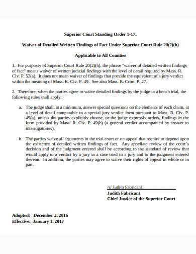 superior court standing order template